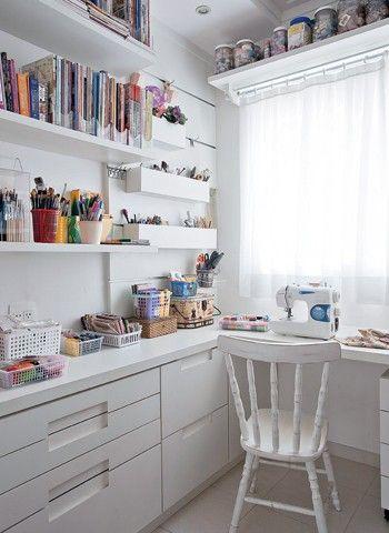 atelier de costura - ateliê branco completo