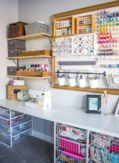 atelier de costura - ateliê de costura com painel e gavetas