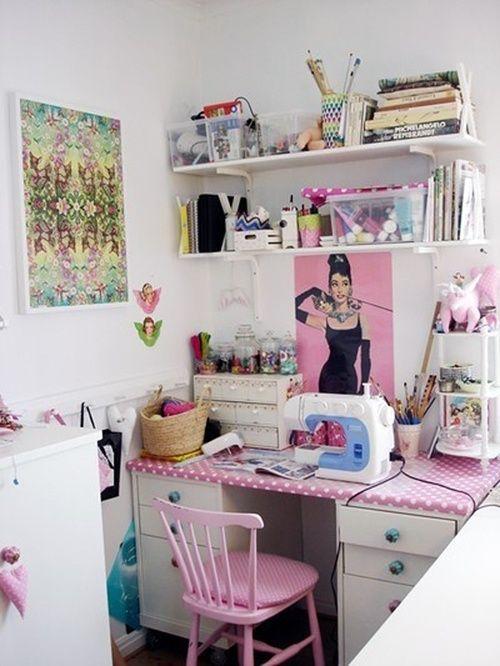 atelier de costura - ateliê de costura rosa decorado