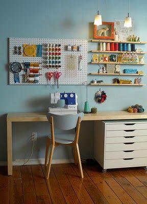 atelier de costura - ateliê de costura simples com painel