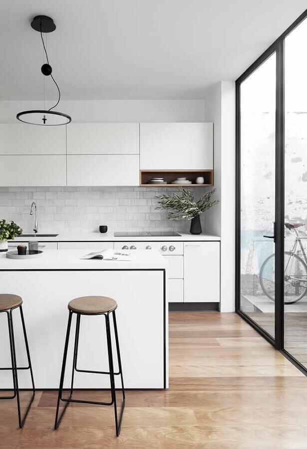 azulejo branco para cozinha planejada Foto Ideias Decor