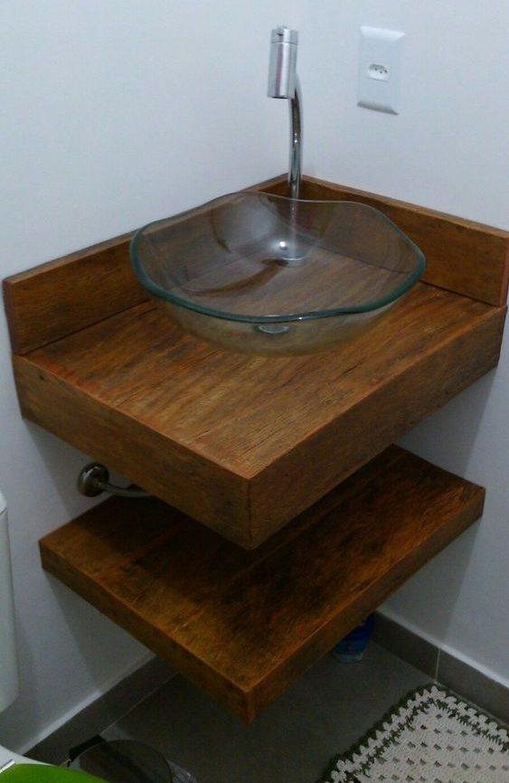 bancada de madeira - bancada de banheiro simples