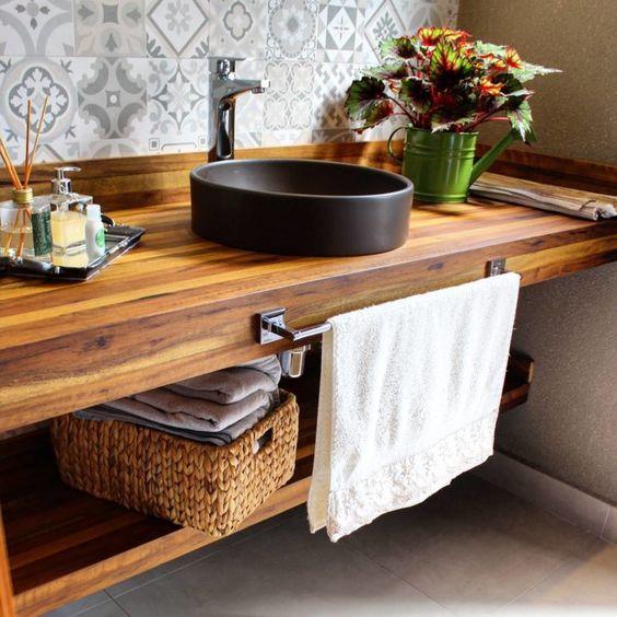 bancada de madeira - bancada de banheiro em madeira