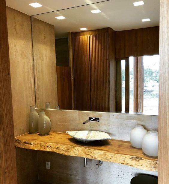 bancada de madeira - bancada de banheiro feito em madeira de lei
