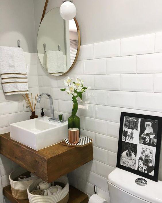 bancada de madeira - bancada de madeira com base para pia de banheiro