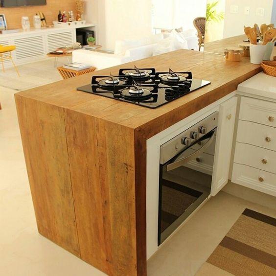 bancada de madeira - bancada de madeira com fogão cook top