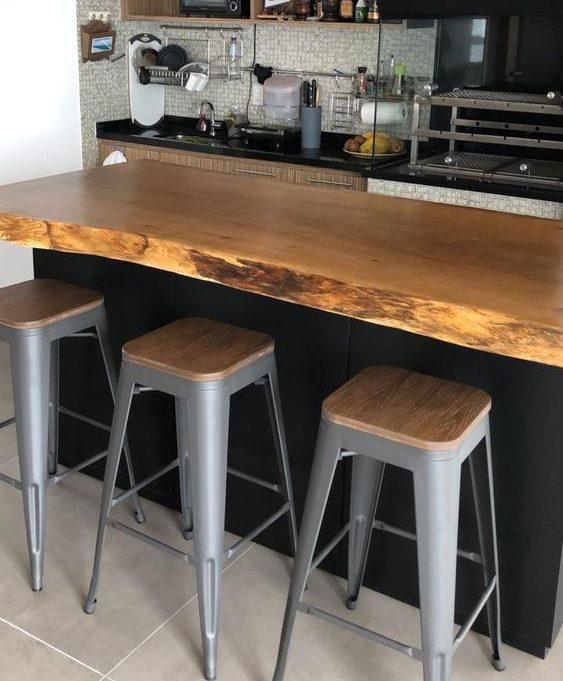 bancada de madeira - bancada de madeira em cozinha