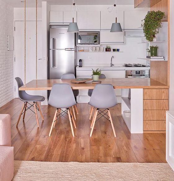 bancada de madeira - bancada de madeira utilizada como mesa em sala de jantar
