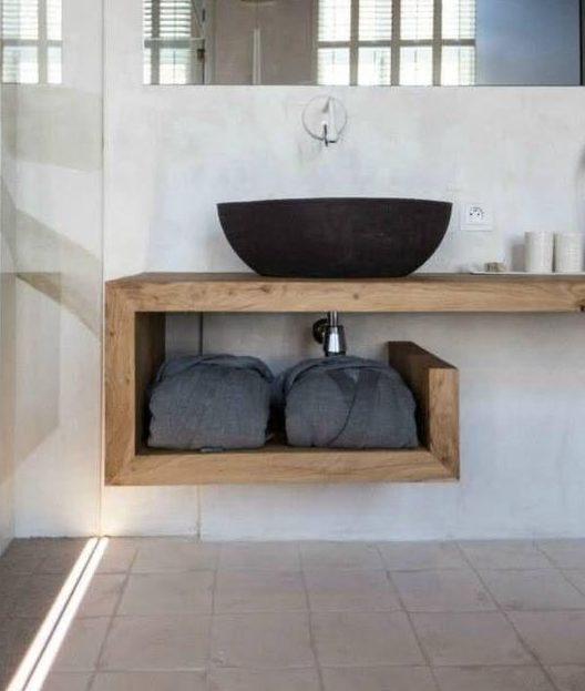 bancada de madeira - bancada modular de madeira para banheiro