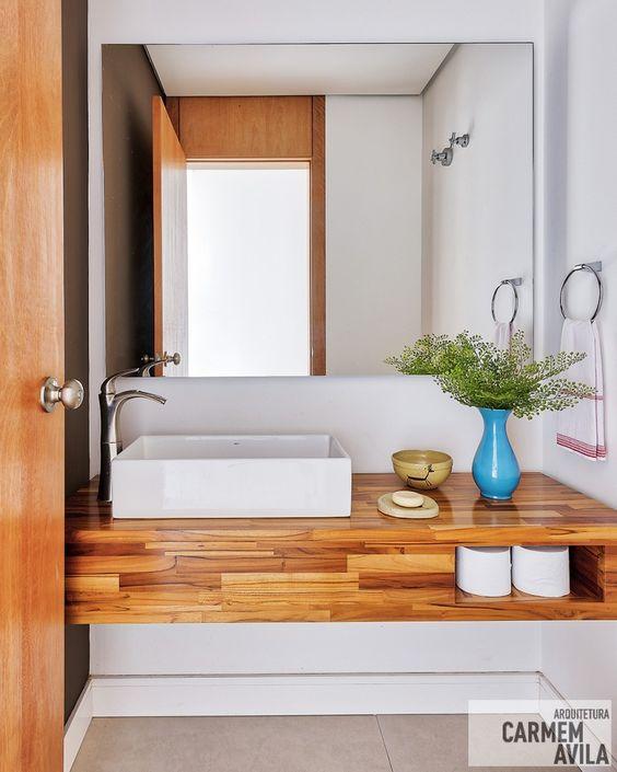 bancada de madeira - bancada simples de madeira para banheiro