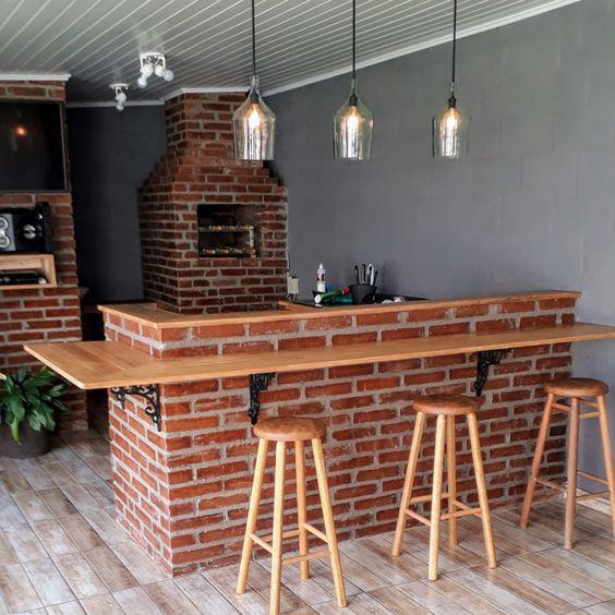 bancada de madeira - churrasqueira com bancada de madeira