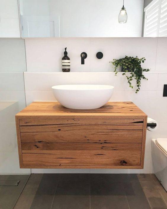 bancada de madeira - gabinete com bancada de madeira
