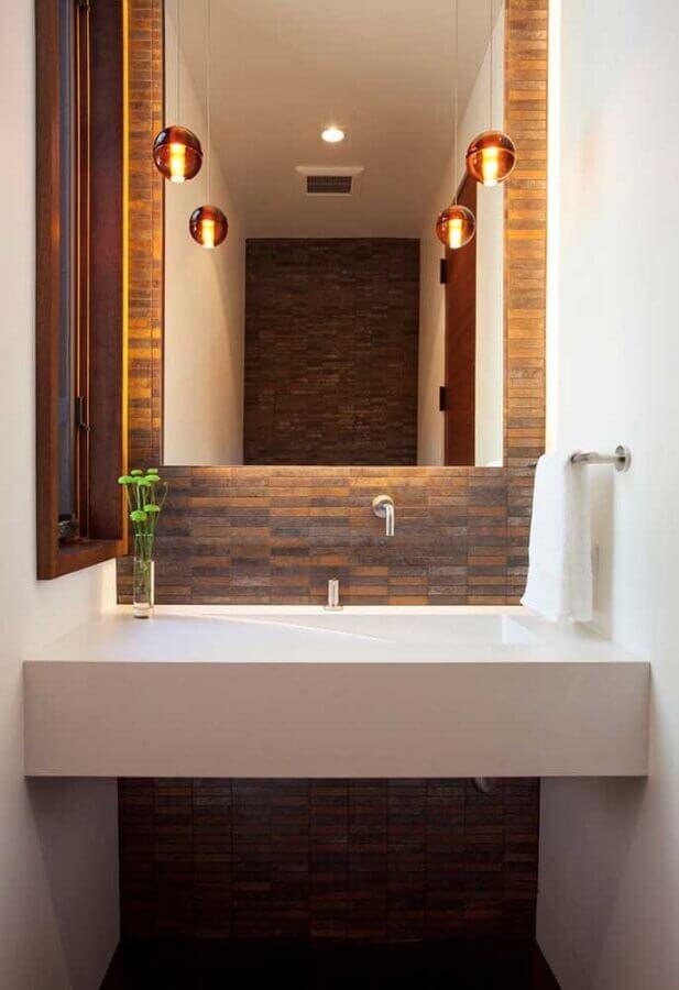 banheiro decorado com porcelanato pedra ferro Foto Shopping das Pedras