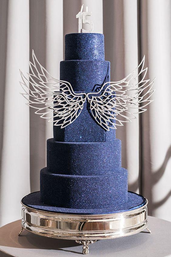 bolo de 15 anos azul