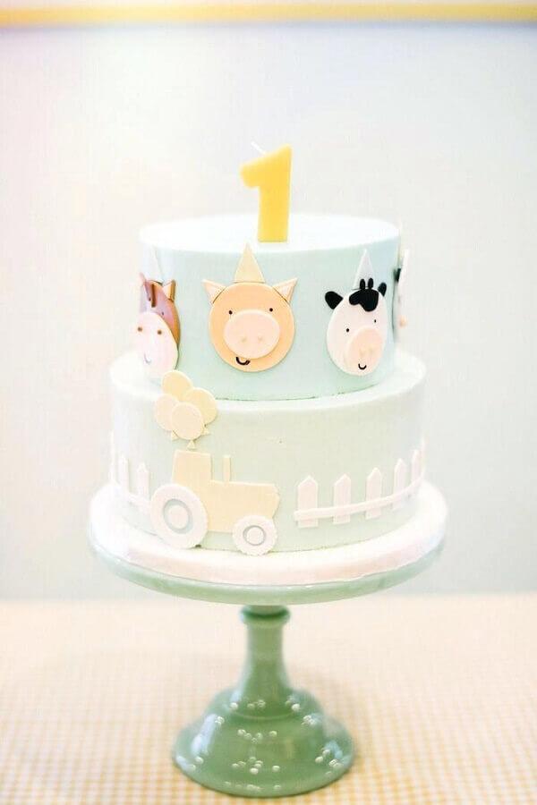 bolo decorado para festa fazendinha Foto Pinosy