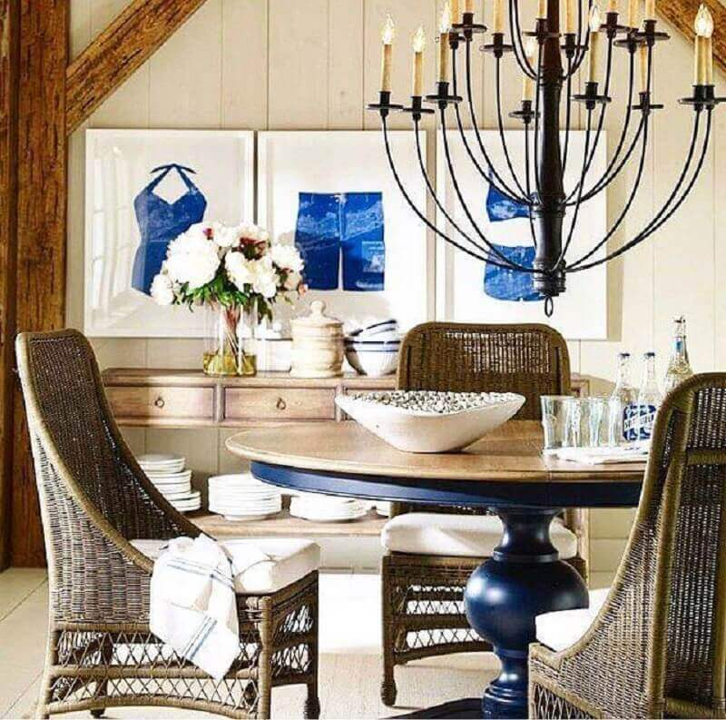 cadeira rattan para sala de jantar com mesa redonda Foto Ethan Allen Kuwait