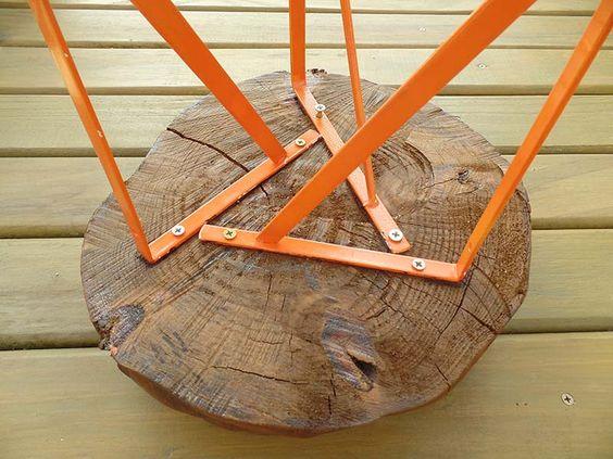 cantoneira - banco de tronco feito com mão francesa