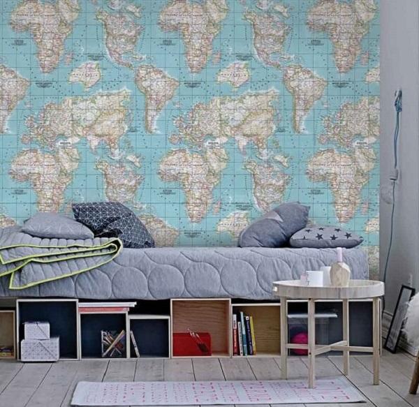 como colar papel de parede fácil mapa múndi