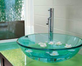 Cuba de sobrepor de vidro no tom azul