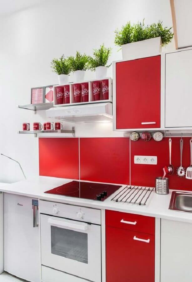 decoração simples para cozinha vermelha e branca Foto Ideias Decor