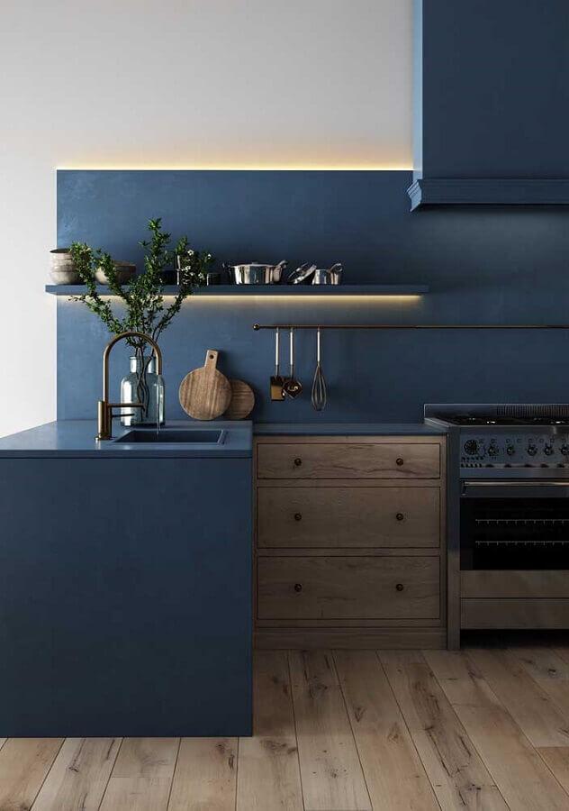 decoração azul petróleo para cozinha planejada Foto Behance