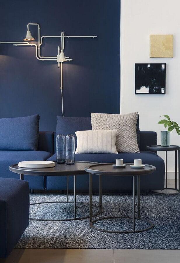 decoração azul petróleo para sala moderna Foto Juliane Cardoso