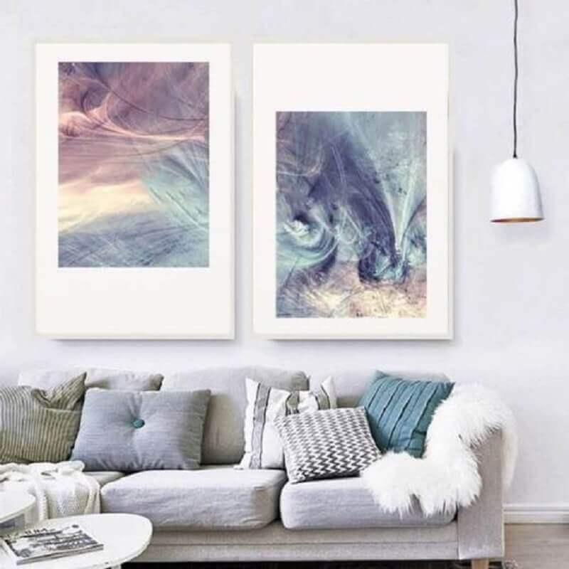 decoração clean com quadros tumblr para sala com sofá cinza Foto Decoração de Casa