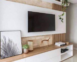 decoração clean com rack com painel branco Foto HomeDecorIG