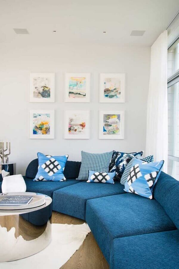 decoração clean com sofá de canto azul Foto Ideias Decor