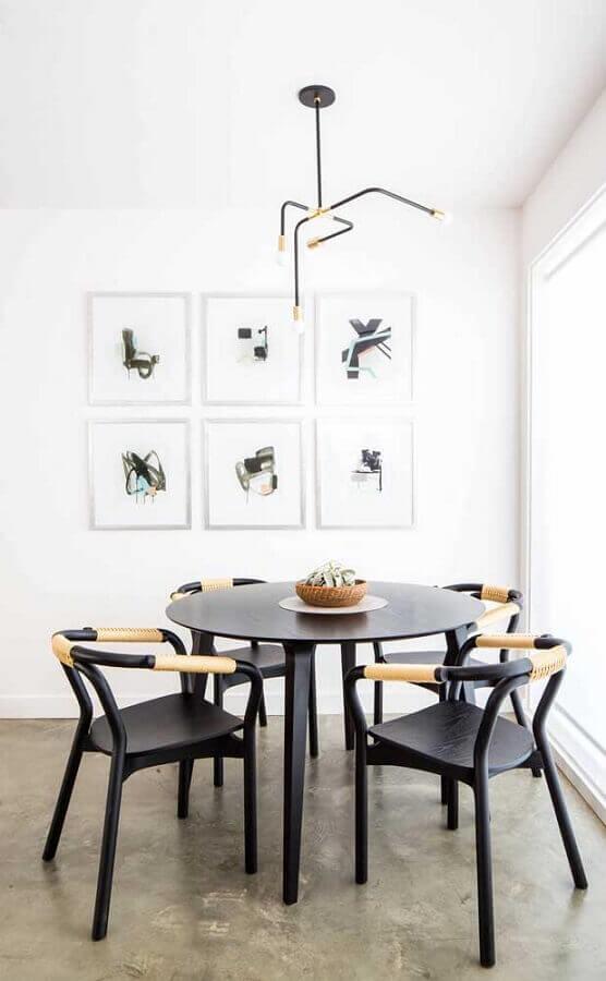 decoração clean para sala de jantar com quadros tumblr e luminária minimalista Foto Pinterest