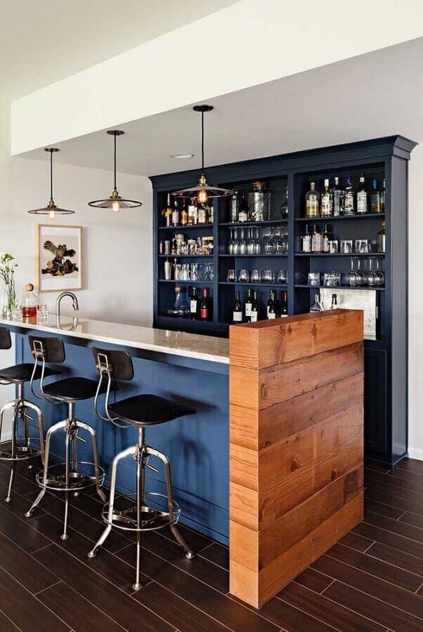 decoração de espaço gourmet azul petróleo Foto Ideias Decor
