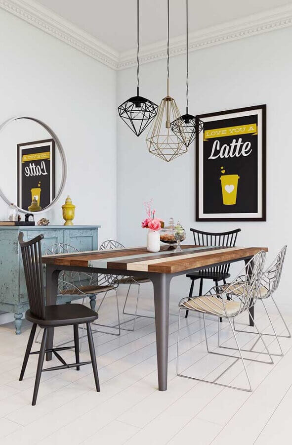 decoração de sala de jantar com espelho redondo e quadro tumblr grande Foto Pinterest