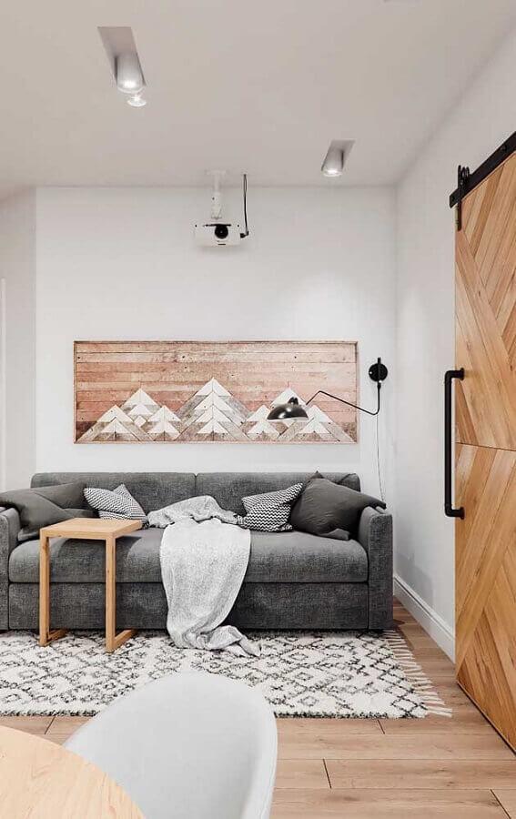 decoração estilo escandinava para sala com quadro tumblr de madeira Foto MyHome