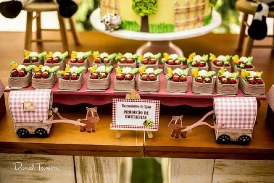 decoration little farm party with custom sweets Photo Daniel Teixeira