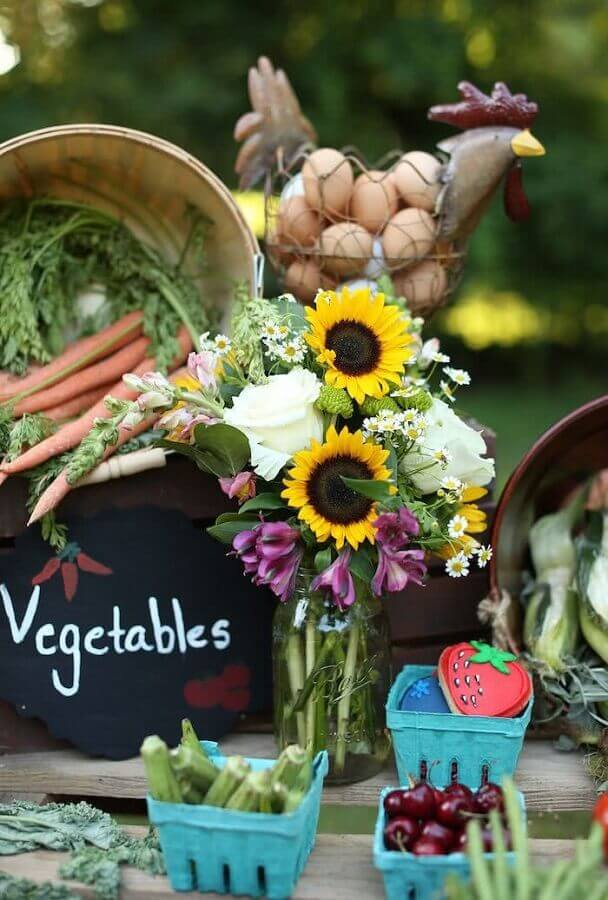 Sweetly Chic Events Sweetly Chic Party decoration with flowers and vegetables