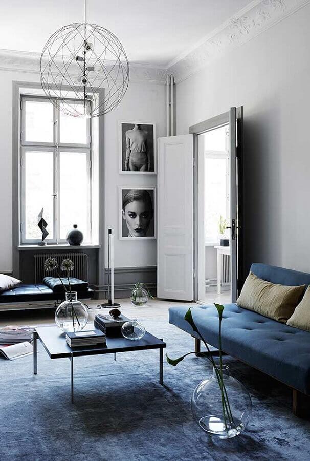 decoração minimalista para sala azul petróleo Foto Pinterest