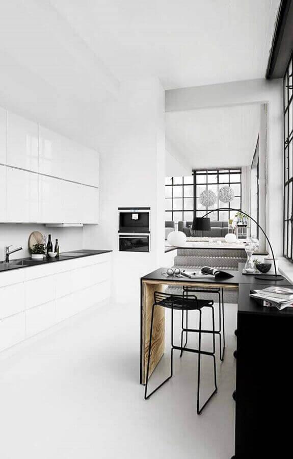decoração minimalista para cozinha branca e preta Foto Webdesign Dresden