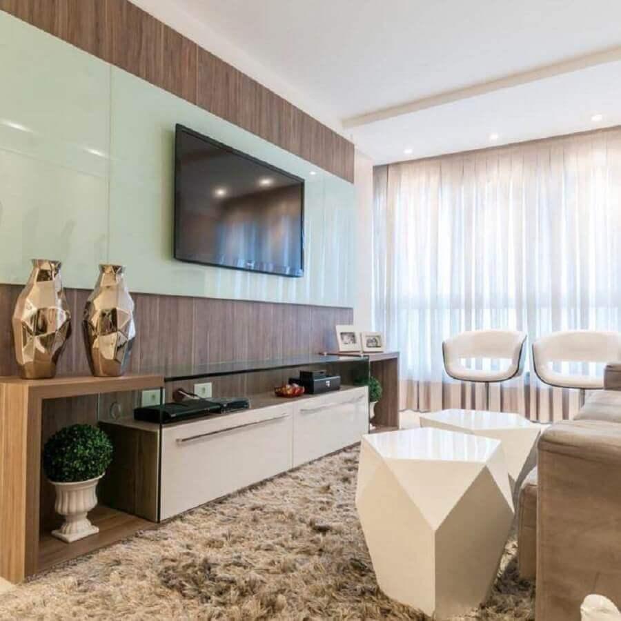 decoração moderna com painel para tv com rack Foto 433 Arquitetura