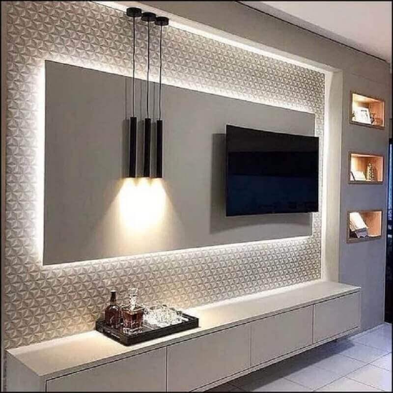 decoração moderna com revestimento 3D e rack com painel branco Foto Pinterest