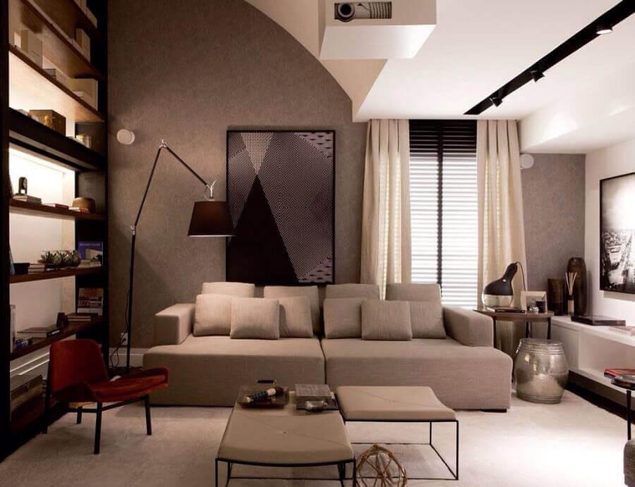 decoração moderna em tons neutros para sala com quadro tumblr Foto Gava Ambientes Completos