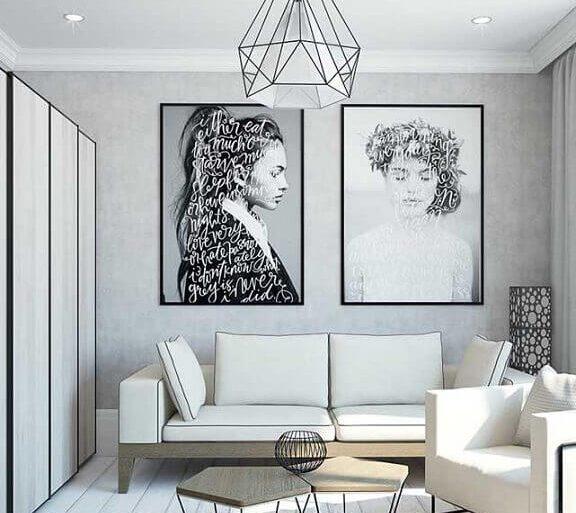 decoração moderna para sala cinza com mesa de centro difernete e quadros tumblr grandes  Foto Behance