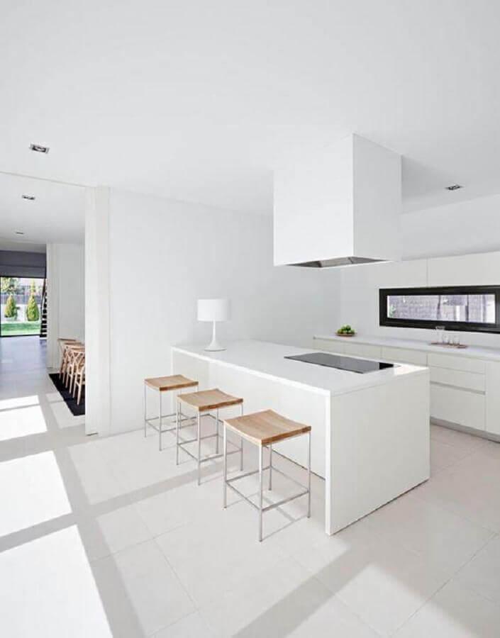 decoração para cozinha branca com ilha Foto ArqDrops