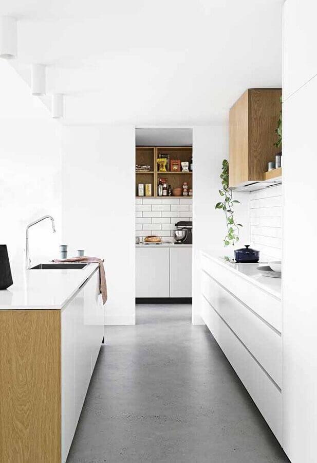 decoração para cozinha branca corredor Foto Pinosy