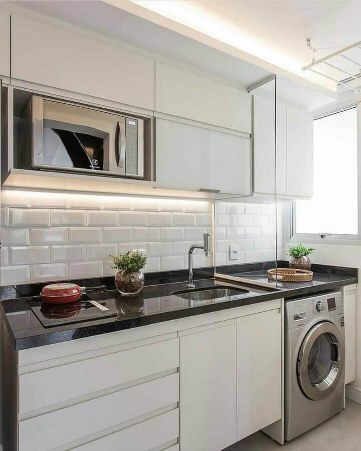 decoração para cozinha branca pequena Foto Pinterest