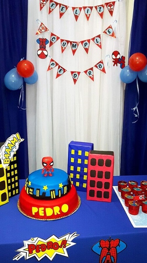 decoração para mesa de festa do homem aranha simples Foto Todo Bonito