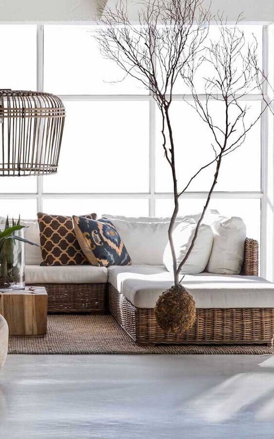 decoração para sala clean com móveis rattan Foto Pinterest