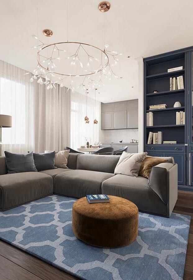 decoração para sala de estar cinza e azul petróleo Foto Behance
