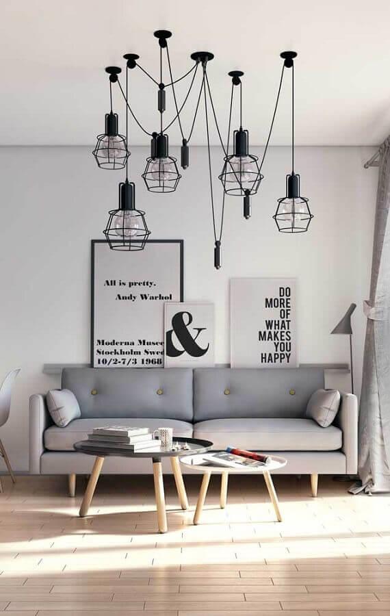 decoração para sala minimalista com pendentes modernos e quadros tumblr de frase Foto Chateau de Conques