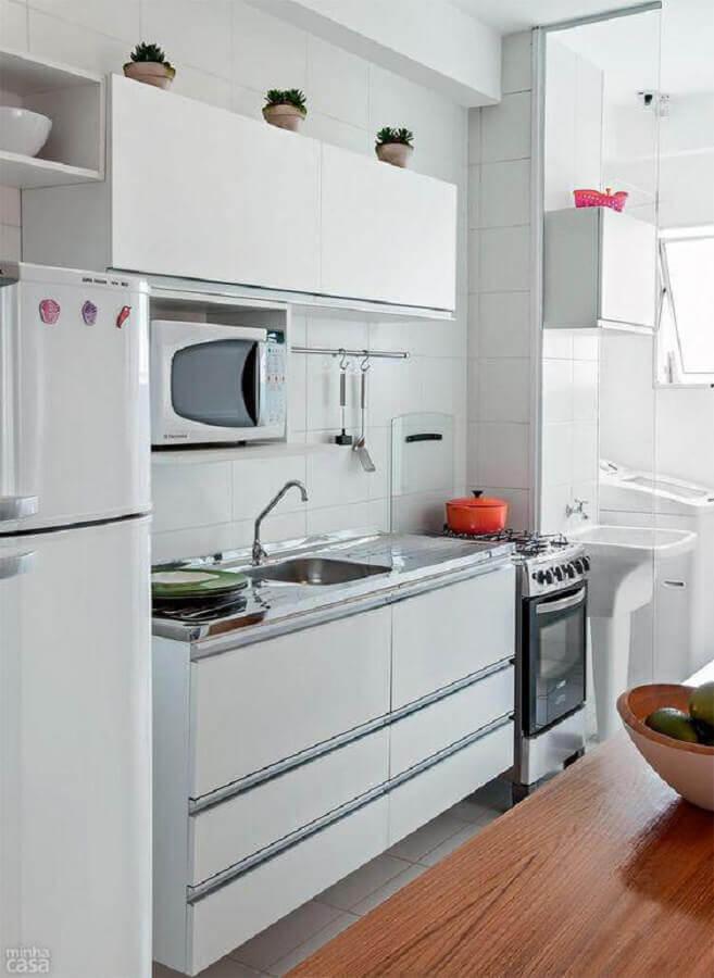 decoração simples para cozinha branca compacta Foto Levitrabook