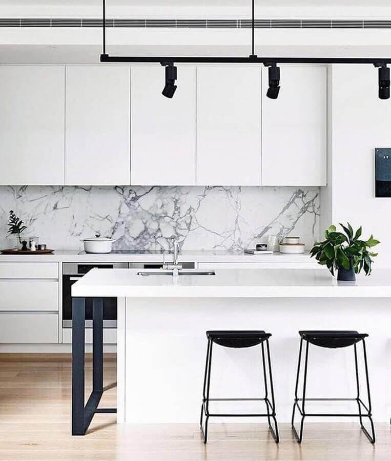 decoração sofisticada com mármore para azulejo branco para cozinha Foto Pinterest